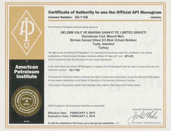 API-6D-1168-Gelisim-Valf-Valve-Certificate